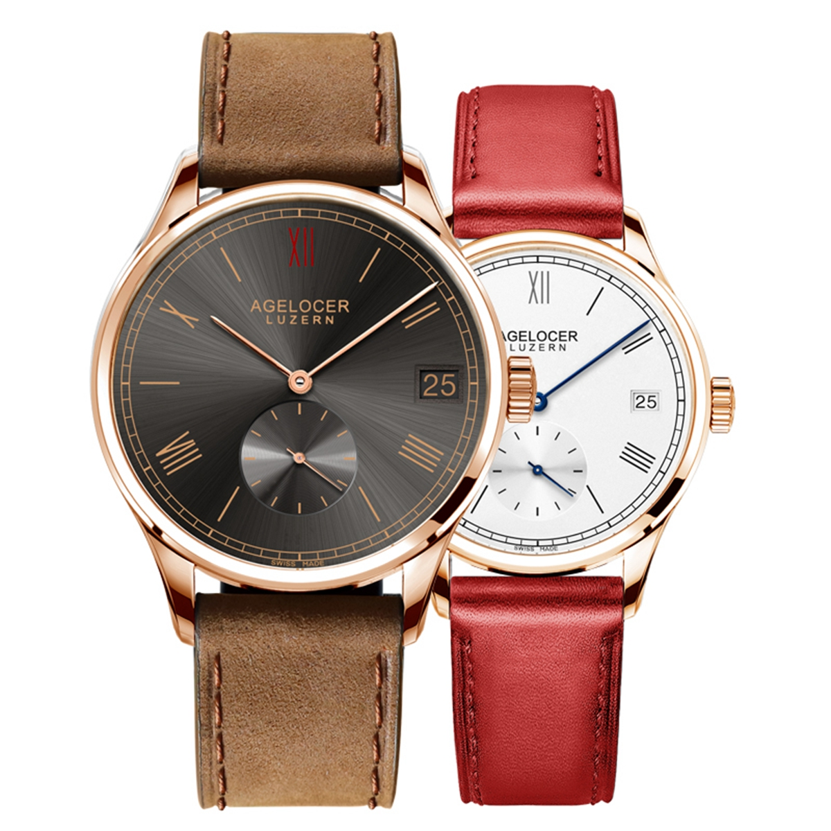 Agelocer Ultra Thin Couple Watches Rose Gold Automatic Watches for Men Women 1101A1-1202A1GB
