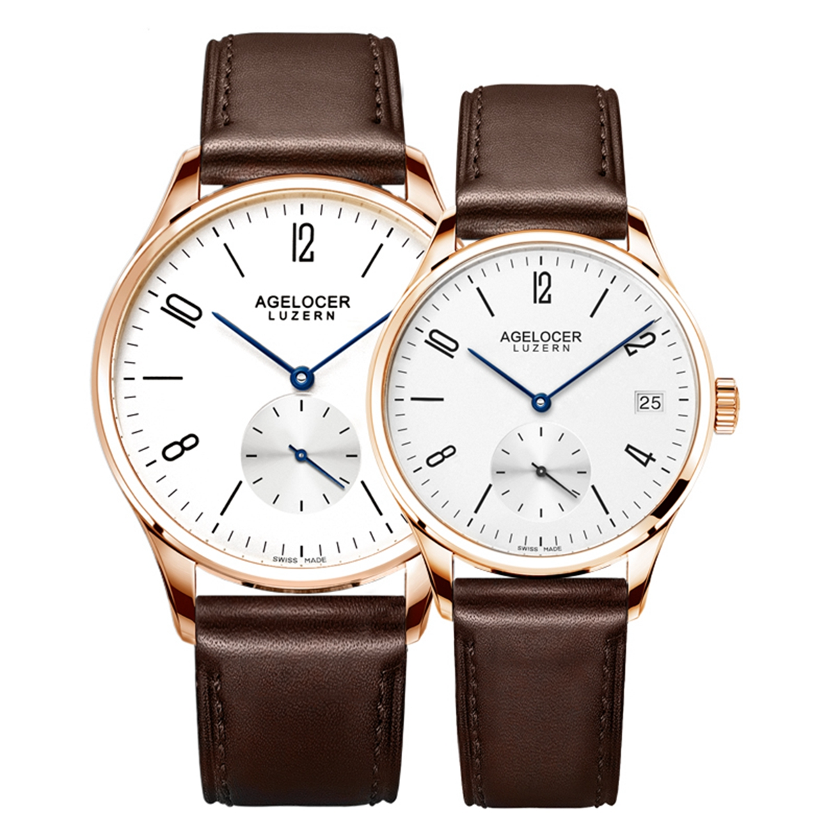 Agelocer Ultra Thin Couple Watches Rose Gold Automatic Watches for Men Women 1101A1-1202A1GW