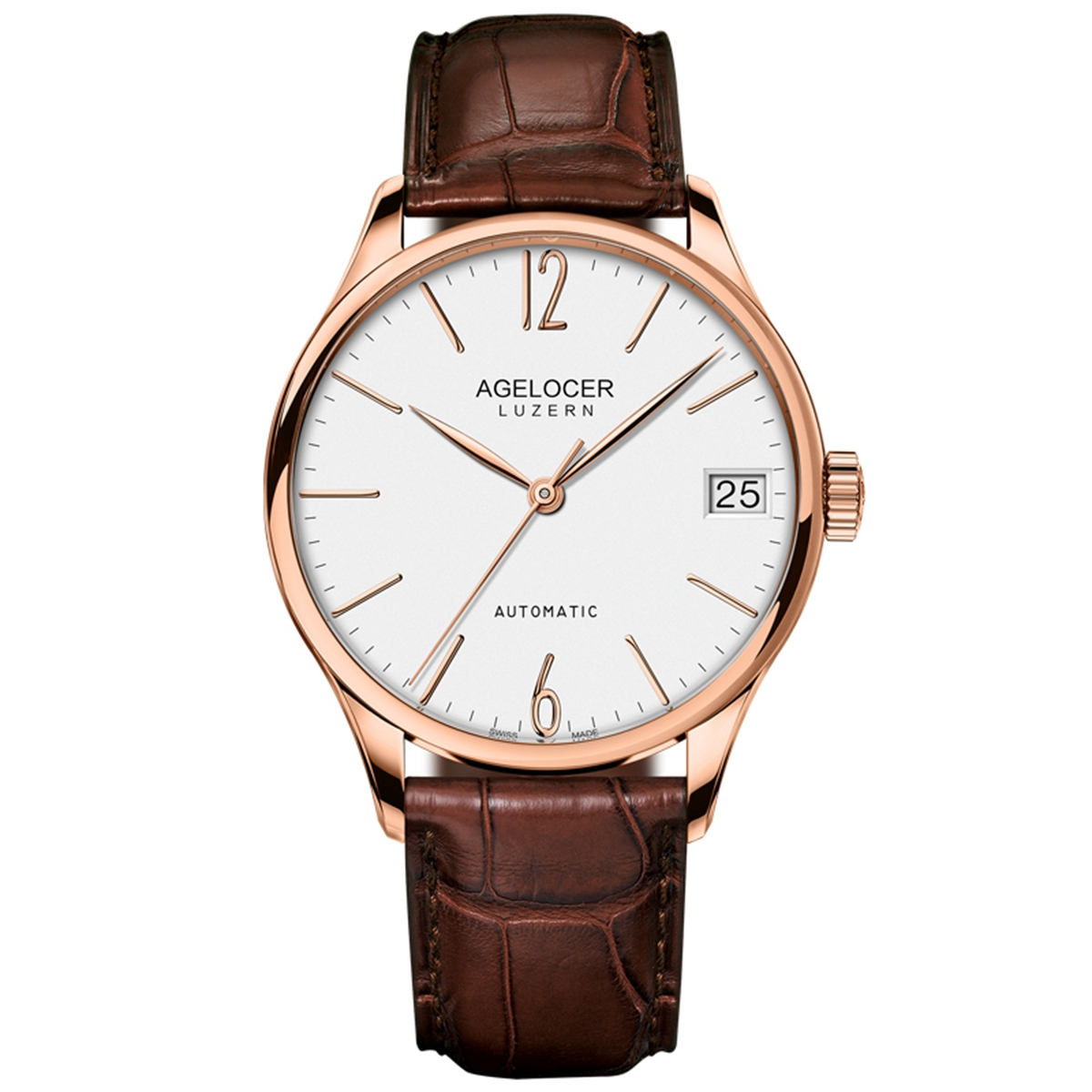 Agelocer Luxury Ultra Thin Mens Watches Genuine Leather Strap Waterproof Automatic Watches 7071D2