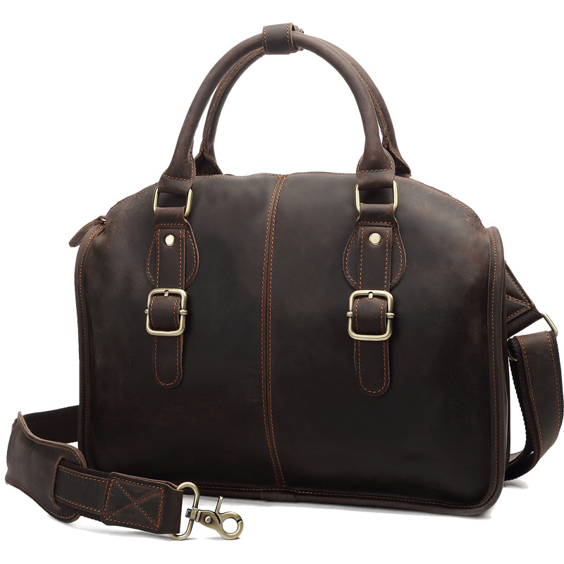 Hot Sale Fashion Casual Men Shoulder Bags Genuine Leather Men Brief Case 8653