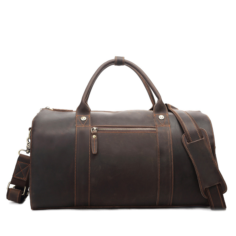 Men's Cow Leather Brown Large Capacity Bag Genuine Leather Travel Bag 8642