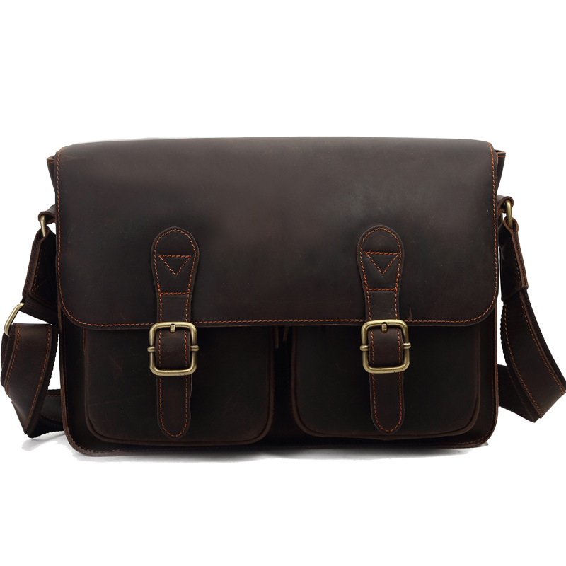 High Quality Vintage Genuine Leather Business Handbag Messenger Bag Men Briefcase