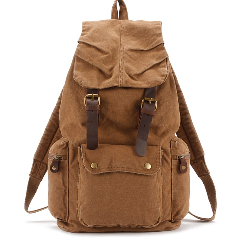 Vintage Canvas School Bag Flap Pocket Drawstring Backpack Men Backpack 1005