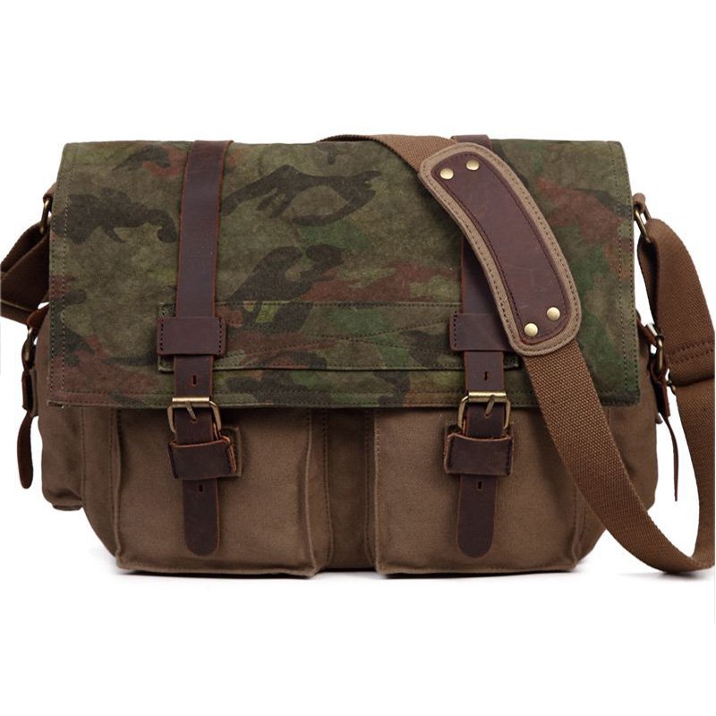 New Canvas Camouflage Messenger Bag Crossbody Bags Travel Bag Men Climbing Bags 1338