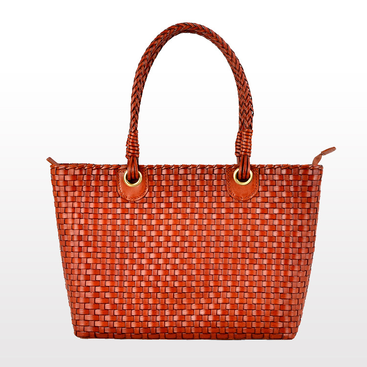 High Quality Calfskin Leather Women Weaved Top Handle Bags