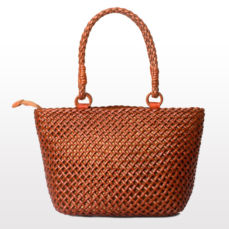 Vintage Style Women Weaved Top Handle Bags Calfskin Leather