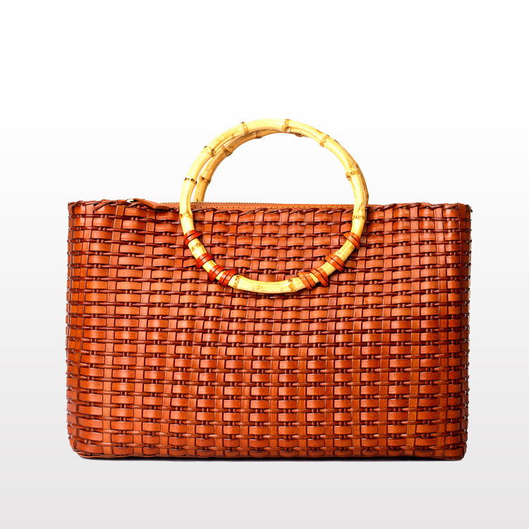 Luxury Women Top Handle Bags Calfskin Leather Woven Bags