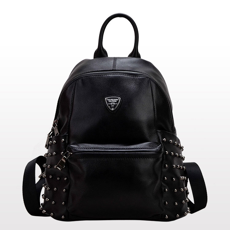 Black Genuine Leather Lady Girl Round Rivets Backpacks Bags