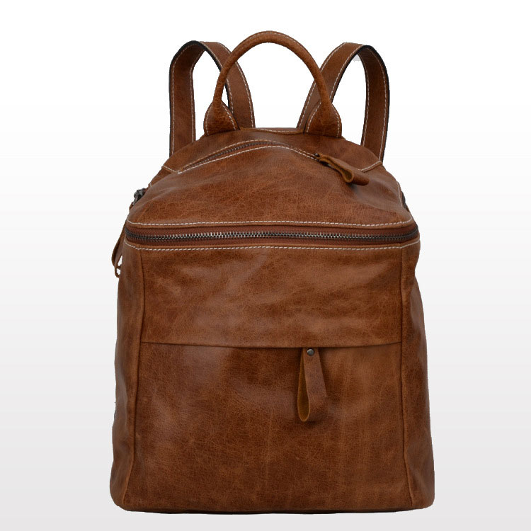 Brown/Coffee Calfskin Leather Women Backpacks Bags
