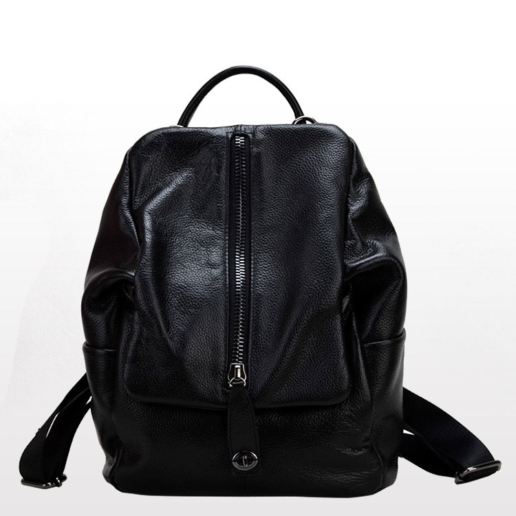 Black Genuine Leather Women Casual Backpacks Bags