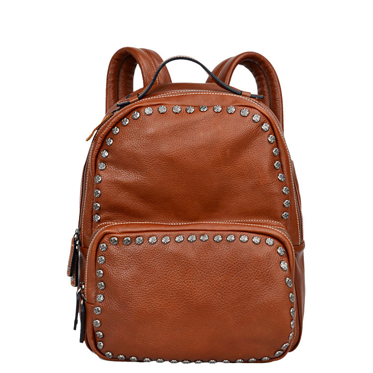 Genuine Leather Backpacks Lady Girl Student School Rivets Bags