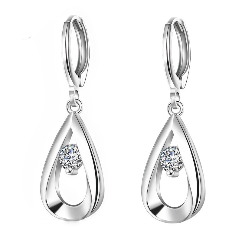 925 Sterling Silver Dangle Earrings for Women Wedding Jewelry Long Earrings Factory Price Zircon Jewelry Crystal Earrings