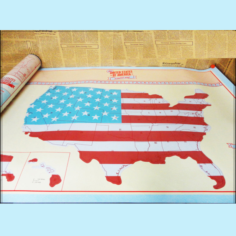 Travel USA Map Painting Mural Modern American Map Wall Art ASII