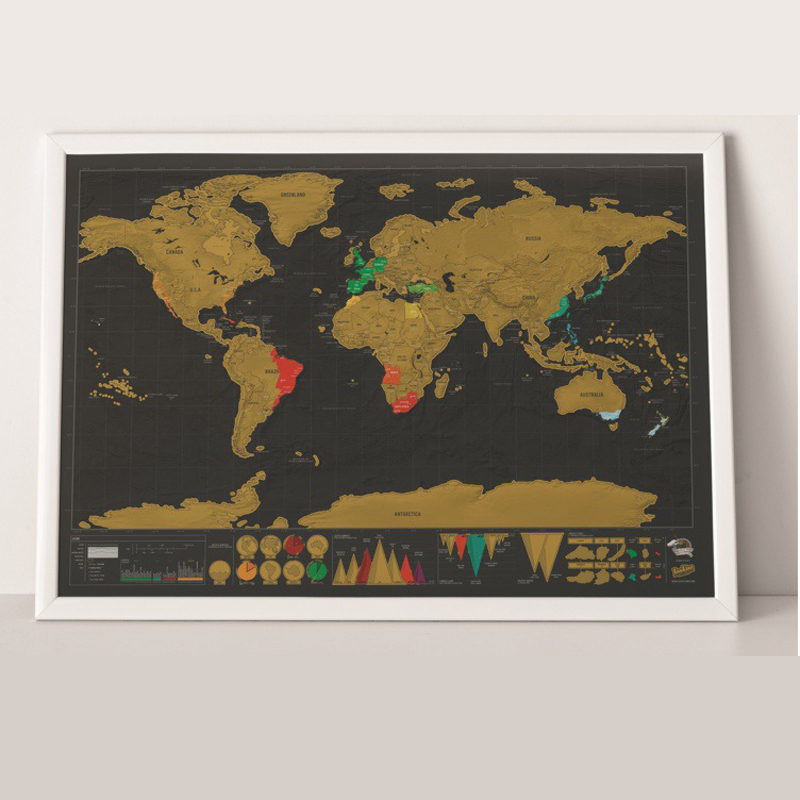 Painting Mural Travel Map Modern Travel World Scratch Map Wall Art SO09