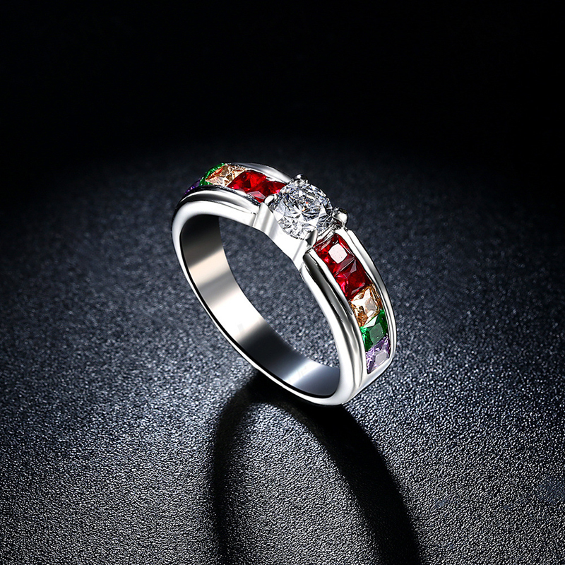 High Quality Pretty Colorful Zircon Stainless Steel Rings For Women