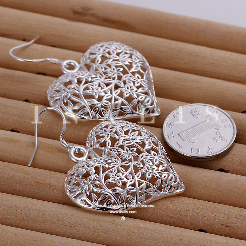 High Quality Silver Plated Beautiful Jewelry Heart Earrings For Women