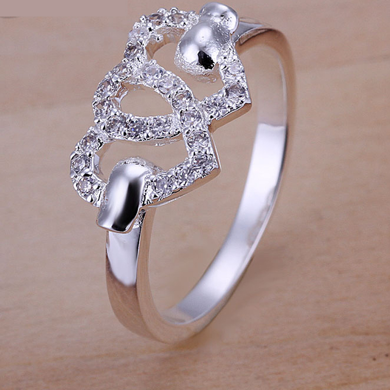 New Beautiful Fashion Heart Design Silver Plated Rings For Women