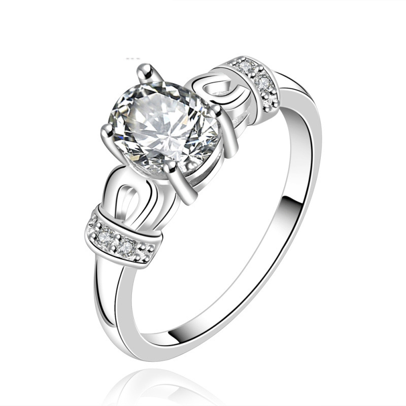 Simple Design High Quality 925 Sterling Silver With Zirconia Rings For Women