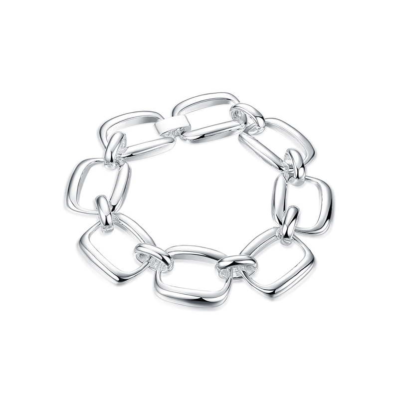 925 Sterling Silver Fashion Jewelry Square Charm Bracelets For Women
