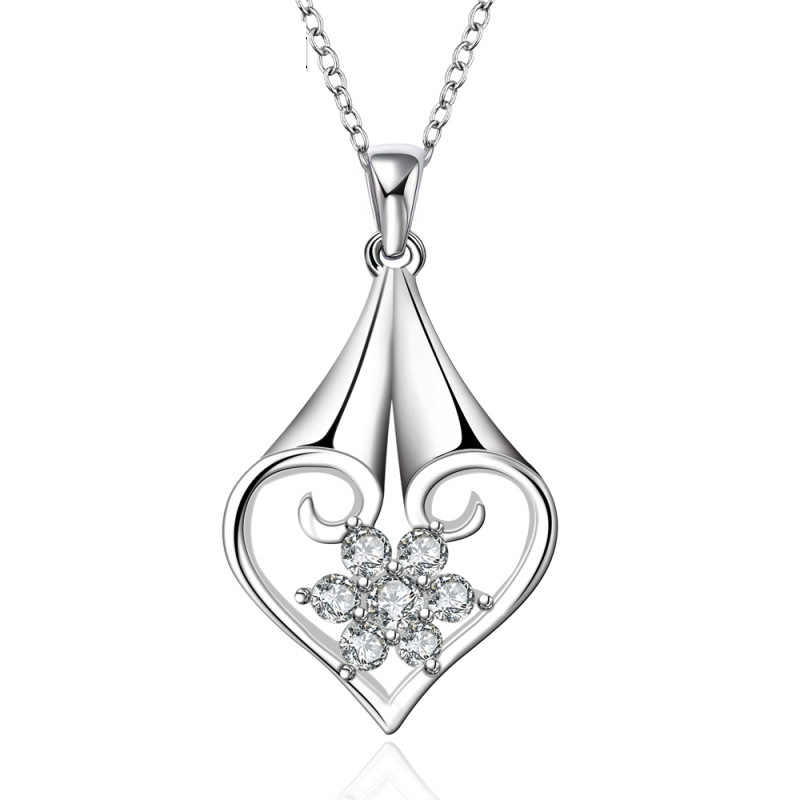925 Sterling Silver Beautiful Heart High Quality Necklace For Women
