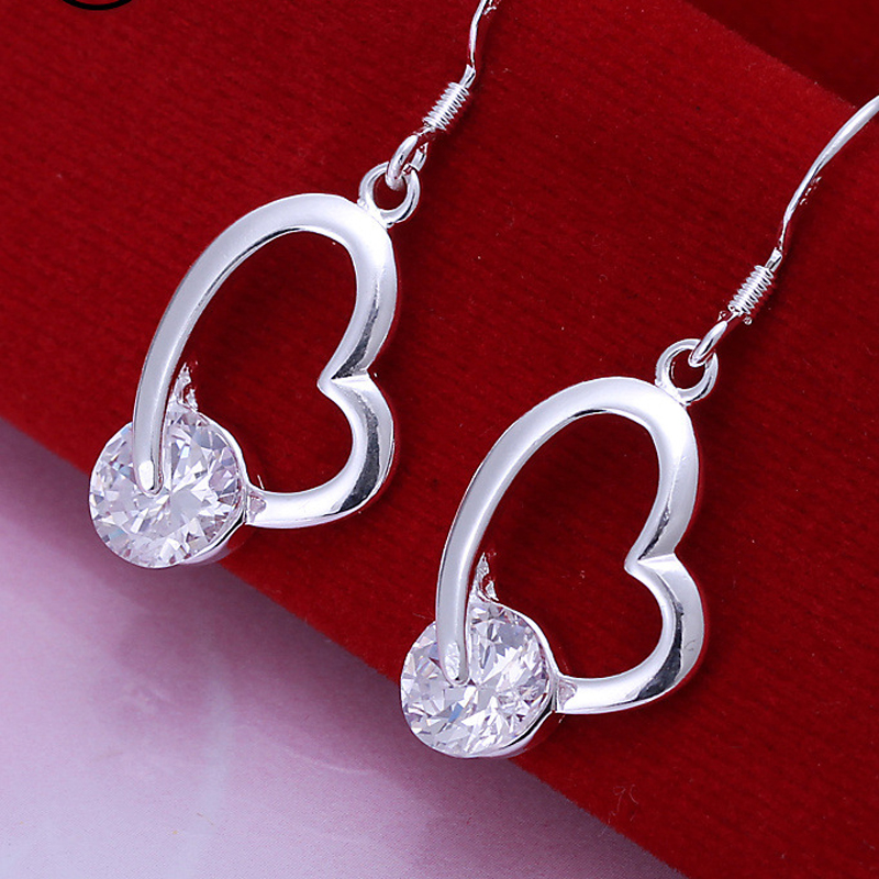 925 Sterling Silver Beautiful Heart High Quality Earrings For Women