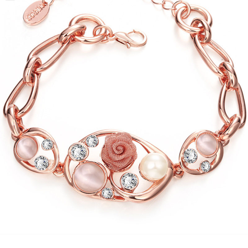 Rose Gold Plated Hollow Out Flower Pearl Jewelry Charm Bracelets For Women