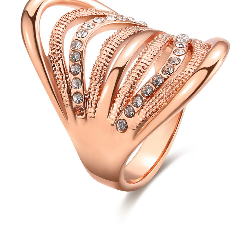 Beautiful Top Quality Rose Gold Party Wedding Jewelry Diamond Rings For Women