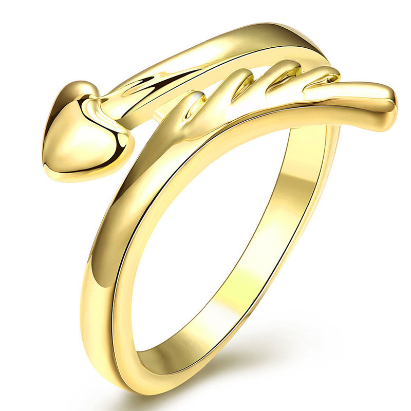 Beautiful Top Quality Yellow Gold Party Wedding Jewelry Adjustable Rings For Women