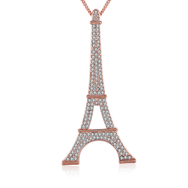 2016 Fashion Rose Gold Plated Paris Eiffel Tower Pendant Necklace For Women