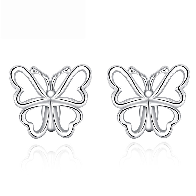 Top Quality 925 Sterling Silver Hollow Out Butterfly Shaped Earrings For Women