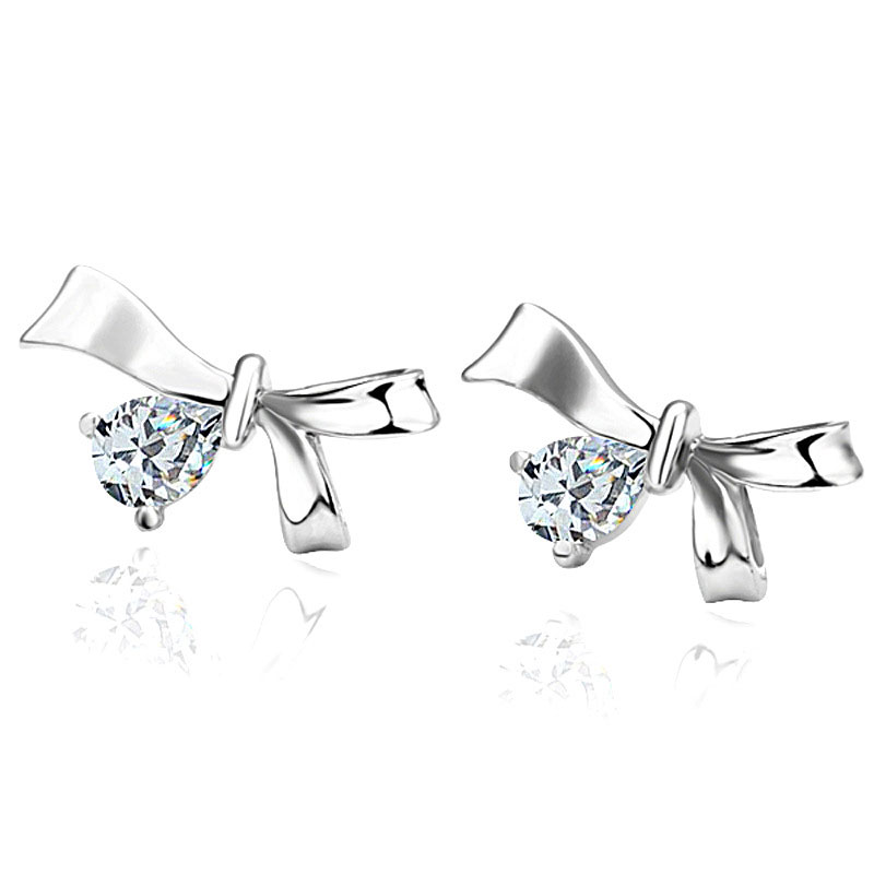 Bow Knot Stud Earrings Office Platinum Plated & Zirconia Gift Accessories For Women