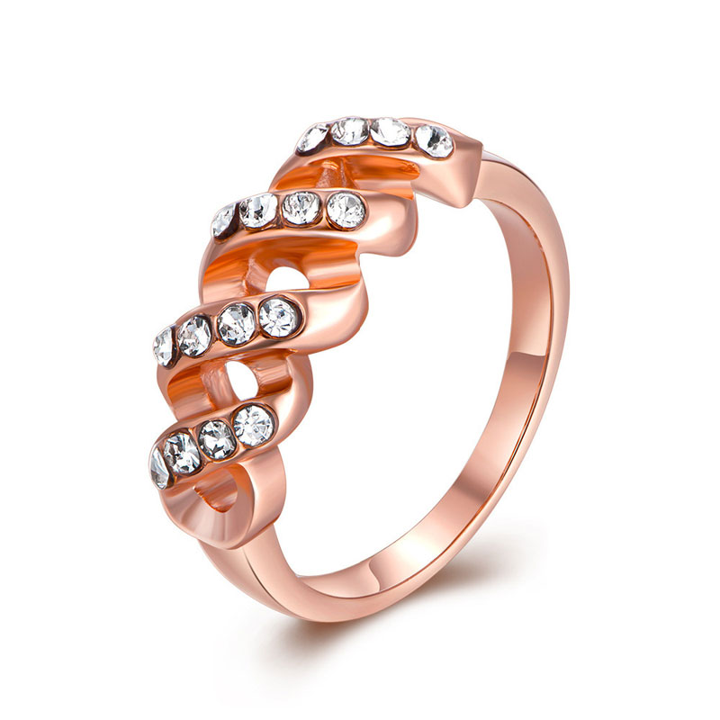 New Simple Rose Gold Plated Hollow Twisted Design Ring Fashion Jewelry For Women