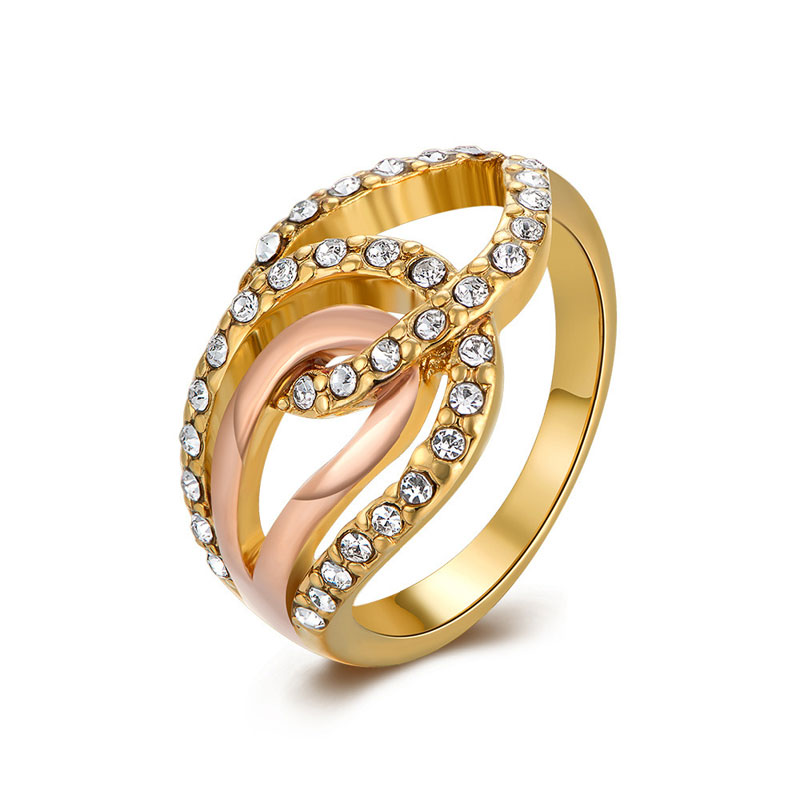 Fashion Beautiful Top Quality Yellow Gold Plated Rings For Women