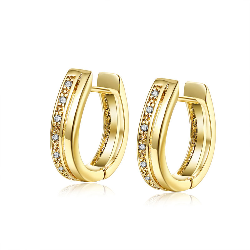 Elegant Small CZ Filled Gold Plated Clip Earrings For Women Gold Ear Cuff Clip