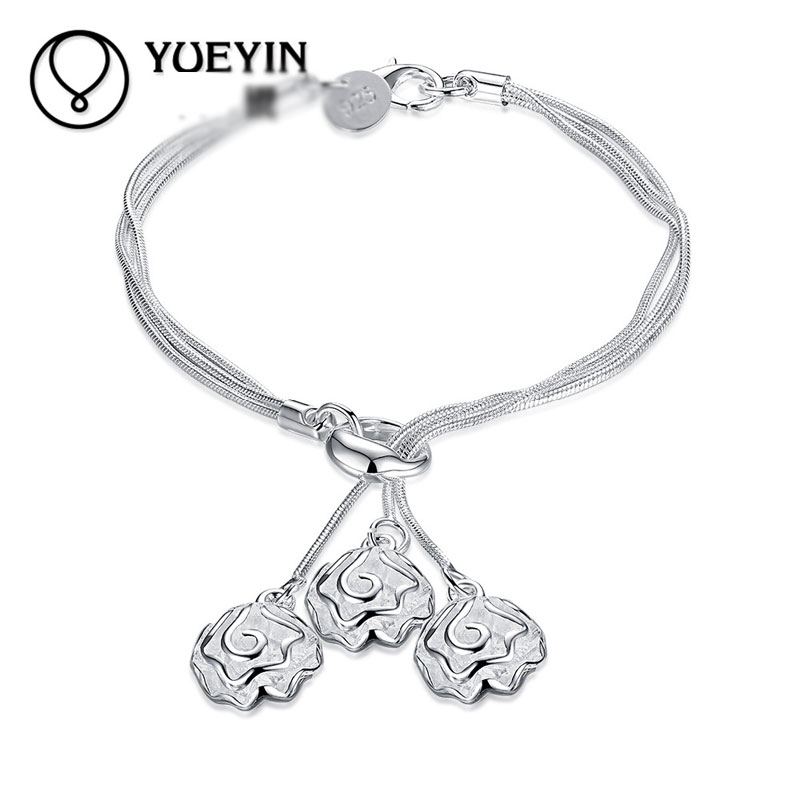 Simple Beautiful Top Quality 925 Sterling Silver Charm Bracelets For Women