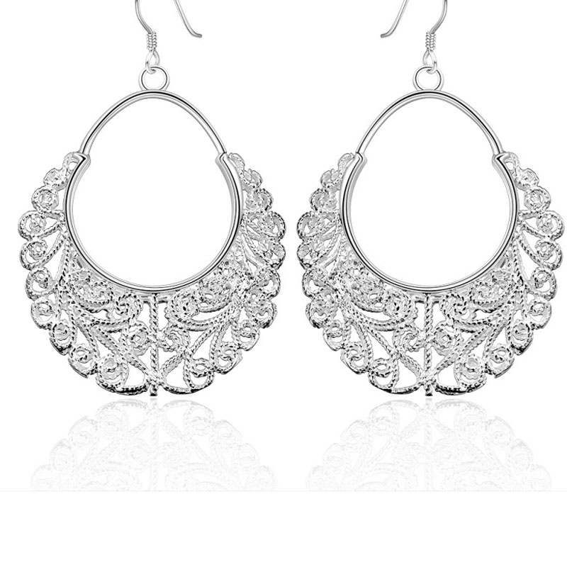 Hollow Out Big Round Drop Earrings for Women Silver Plated Woven Flowers Dangle Earrings