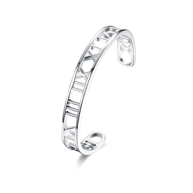 For Women 925 Sterling Silver Fashion Jewellery Bracelets Bangles Big Hollow Rome Bangle