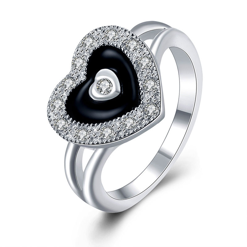 2016 New Fashion Silver Jewelry, Silver Plated Cubic Zirconia  Jewelry Heart Ring For Women