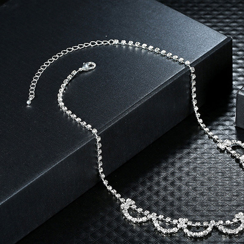 Luxury Silver Plated Elegant Semicircle Shape Bridal Full Austria Crystals Paved Necklace