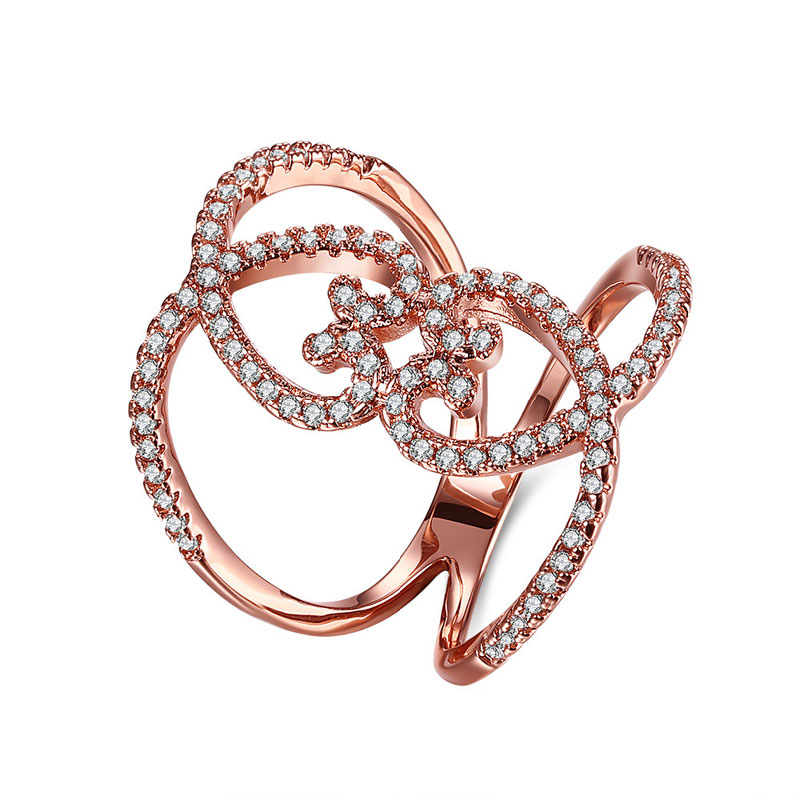 Trendy Rose Gold Full Finger Tiny CZ Paved Fashion Jewelry Heart-shaped Hollow Rings For Women