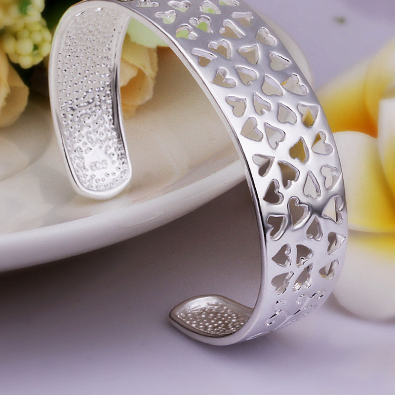 Simple Beautiful Top Quality 925 Sterling Silver Hollow Heart Bracelet For Women
