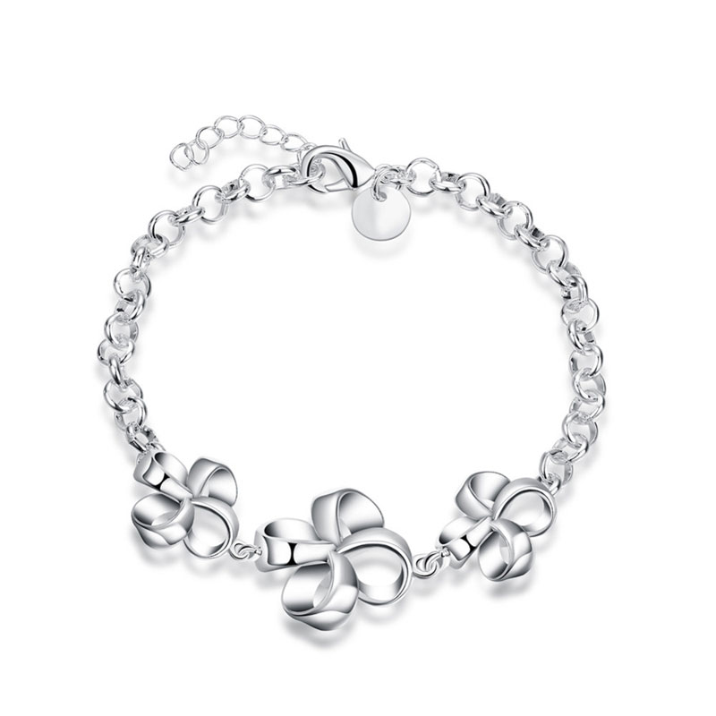 Women Silver Plated Charm Bracelets Bangles Romantic   Wedding Party Vintage Fashion Jewelry