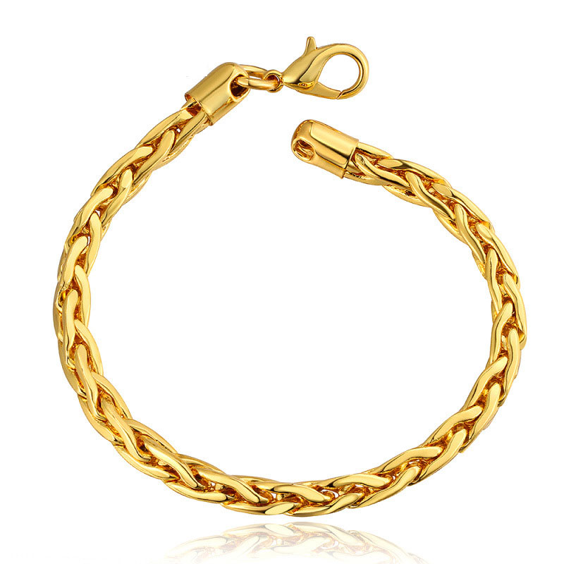 Simple Beautiful Top Quality Yellow Gold Charm Bracelet For Men