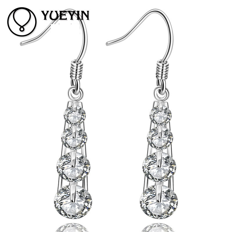 Fashion Accessories Silver Plated Shining New Arrival Round Zircon Dangle Earrings for Women