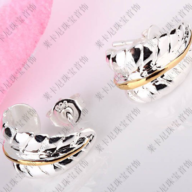 Leaves Simple Trade Silver Earrings Plant Flower Stud Earring Sporty Silver Plated Women