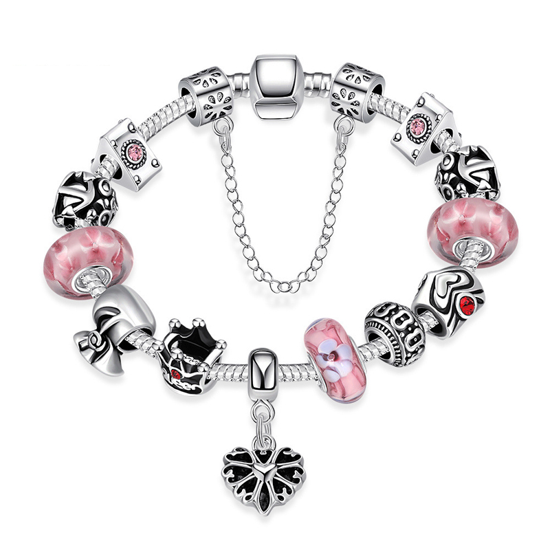 Silver Plated Red Murano Glass Bead Heart Charm Bracelet & Bangle for Women PDRH012