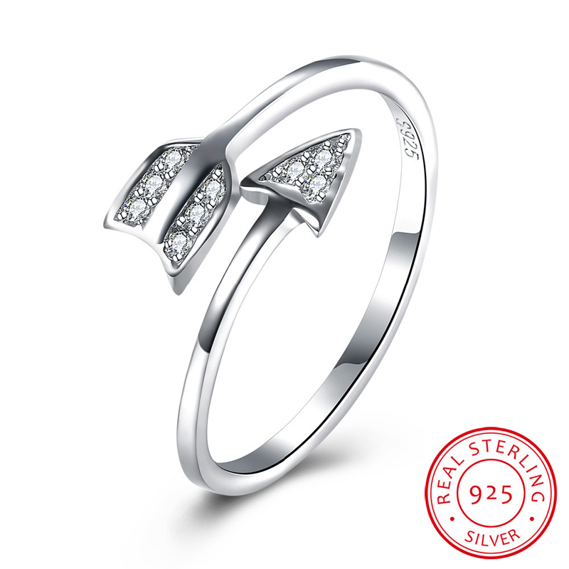 Creative Design Real 925 Silver Arrow Finger Ring with Zircon SVR089