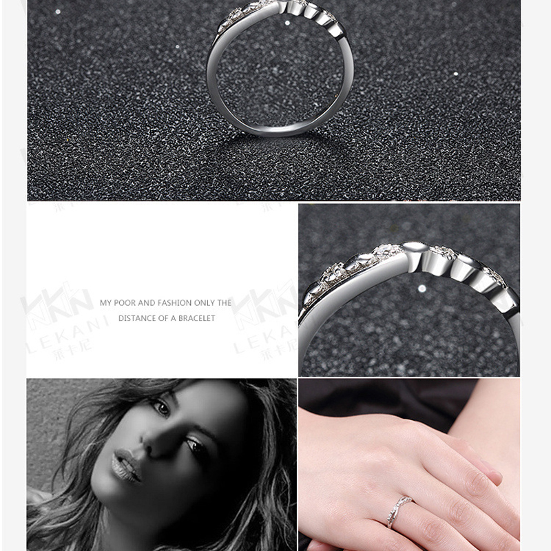 925 Sterling Silver Crossover Design Wedding Ring With AAA Zirconia for Women