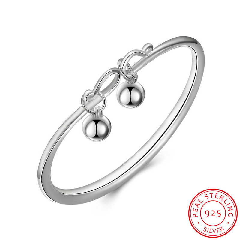 925 Sterling Silver Bell Charm Braclet Bangles Women's Fashion Jewelry SVB073