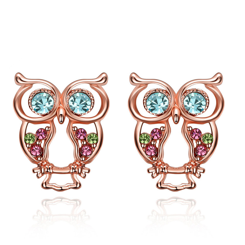 Owl Earrings Trendy Rose Gold Plated Lovely Animal Stud Earring with Multi Color CZ Crystal Jewelry for Women